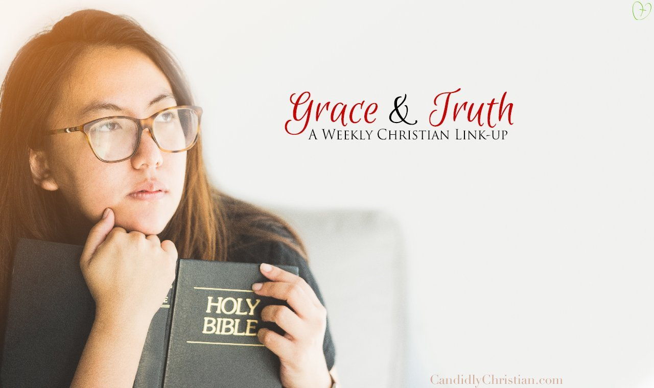 Woman holding Bible wondering what does the Bible say about.... Grace and Truth Link Up